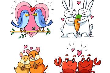 4对彩绘幸福动物情侣矢量素材