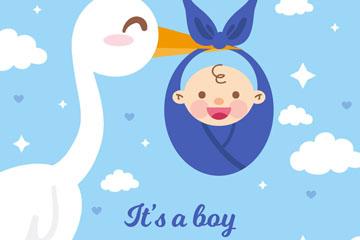卡通送子鹤和婴儿矢量素材