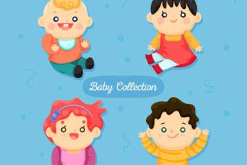 4款卡通婴儿设计矢量素材