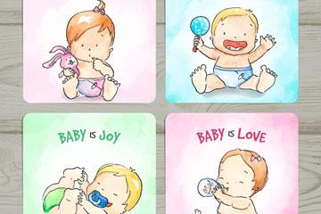 4款手绘婴儿卡片矢量素材