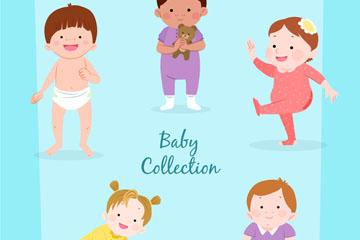 5款可爱卡通婴儿矢量素材