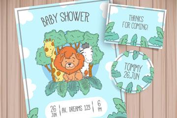 彩绘动物迎婴派对邀请卡矢量图