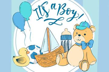 创意蓝色男婴玩具矢量素材