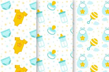 3款可爱婴儿元素无缝背景矢量图