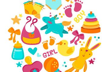 12款彩色婴儿元素设计矢量素材