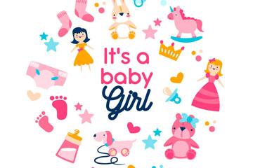 粉色女婴玩具组合圆环矢量图