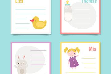4款可爱婴儿留言卡矢量素材