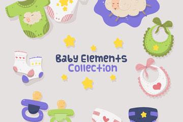 10款可爱婴儿元素矢量素材