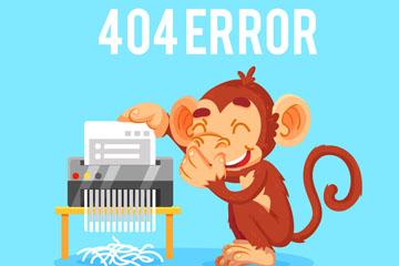 创意404错误页面猴子矢量素材