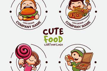 4款可爱卡通人物餐饮标志矢量图