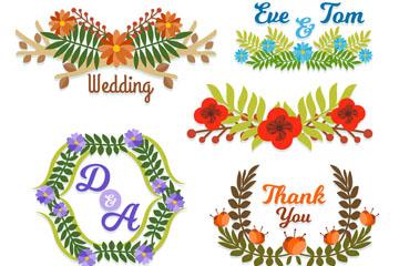 6款纸质花卉婚礼标签矢量图