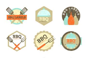 9款创意做旧效果烧烤标签矢量图