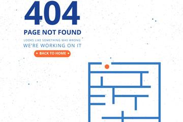 创意404错误页面迷宫图矢量图