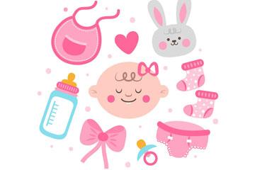 9款可爱女婴用品矢量素材