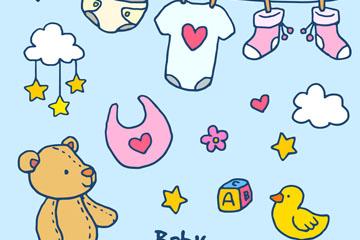 9款彩绘婴儿用品矢量素材