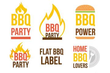 8款扁平化烧烤标签矢量素材