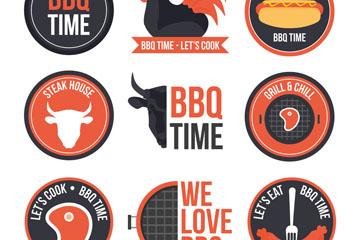 9款圆形烧烤派对标签矢量图