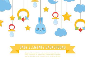 可爱婴儿挂饰设计矢量素材
