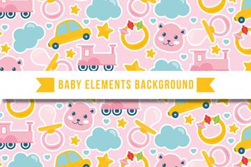 彩色婴儿玩具贴纸无缝背景矢量图
