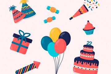 10款彩色生日派对元素设计矢量素材