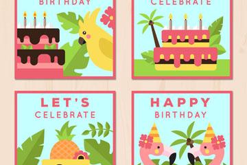 4款扁平化热带花鸟生日贺卡矢量图