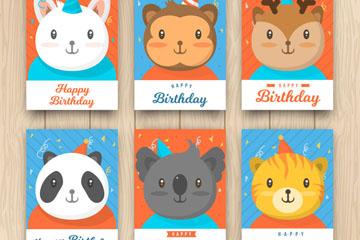 6款可爱动物生日卡片设计矢量素材