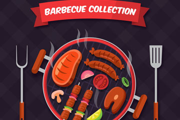 美味烧烤炉里的食物俯视图乐虎国际线上娱乐乐虎国际