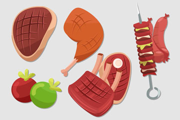 8款创意烧烤食物矢量素材