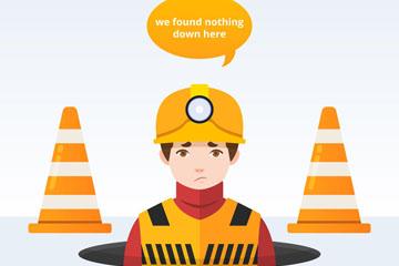 创意404错误页面维修工人矢量图