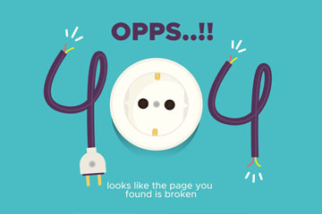 创意404错误页面插座矢量素材