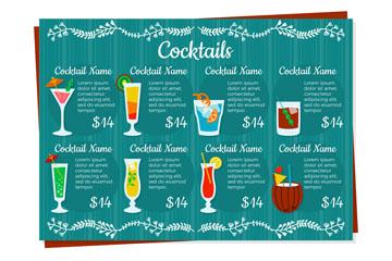 创意单页鸡尾酒酒水单矢量图