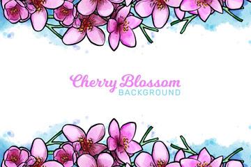 彩绘粉色樱花框架矢量素材