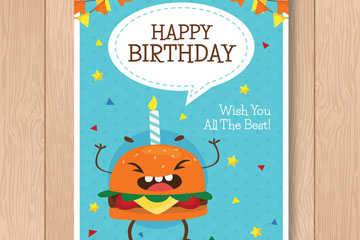 可爱汉堡包生日贺卡矢量素材