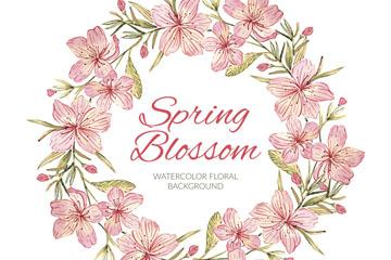 手绘粉色春季樱花花环矢量素材