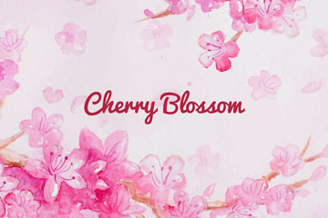 水彩绘粉色樱花花枝矢量素材