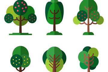6款扁平化绿色树木设计矢量素材