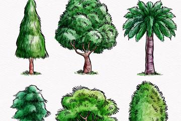 6款彩绘茂盛树木矢量素材
