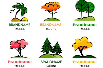 6款彩色树木标志矢量素材