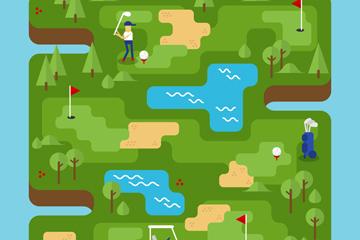 创意绿色高尔夫球场地图矢量素材