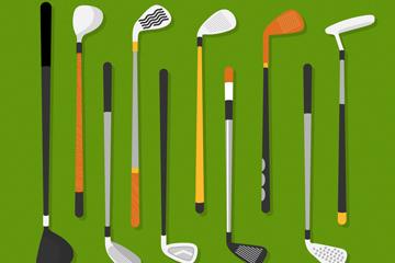 10款创意高尔夫球杆设计矢量图