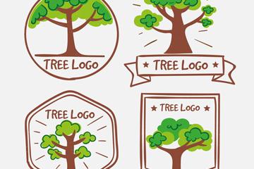 4款手绘树木标志矢量素材