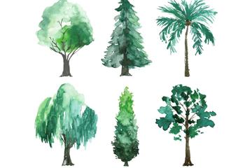 6款水彩绘深绿树木矢量素材