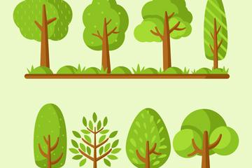 8款翠绿色树木设计矢量素材