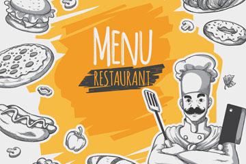 创意手绘餐饮元素菜单矢量素材