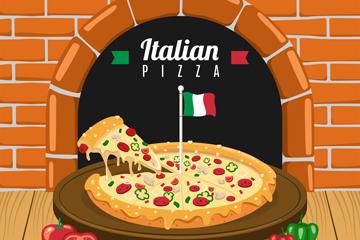 美味新鲜出炉的披萨矢量素材
