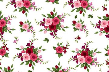 卡通玫瑰花束无缝背景矢量素材