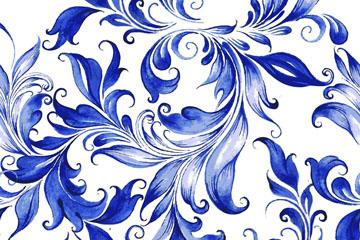 蓝色水彩绘花纹背景矢量素材
