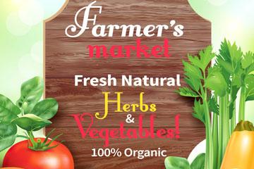 新鲜有机农场蔬菜海报矢量素材
