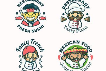 4款可爱厨师餐馆标志矢量素材