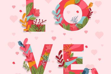彩色花卉装饰爱的艺术字矢量图